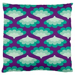 Purple Flower Fan Large Flano Cushion Case (One Side)