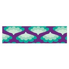 Purple Flower Fan Satin Scarf (Oblong)