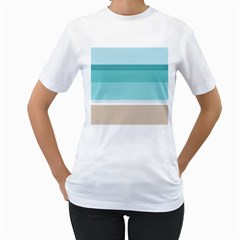 Rainbow Flag Women s T-Shirt (White) (Two Sided)