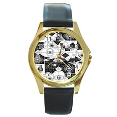 Point Line Plane Themed Original Design Round Gold Metal Watch