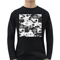 Point Line Plane Themed Original Design Long Sleeve Dark T-Shirts