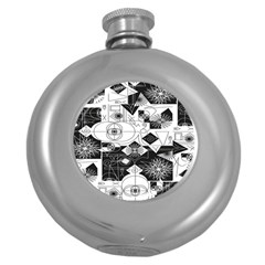Point Line Plane Themed Original Design Round Hip Flask (5 oz)