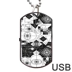 Point Line Plane Themed Original Design Dog Tag USB Flash (Two Sides)