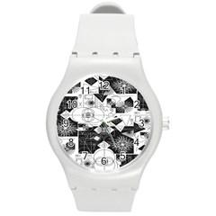 Point Line Plane Themed Original Design Round Plastic Sport Watch (M)