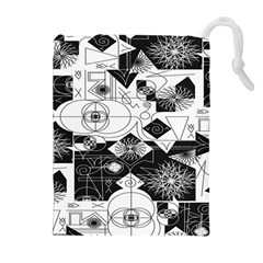 Point Line Plane Themed Original Design Drawstring Pouches (Extra Large)