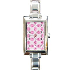 Peony Photo Repeat Floral Flower Rose Pink Rectangle Italian Charm Watch