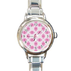 Peony Photo Repeat Floral Flower Rose Pink Round Italian Charm Watch