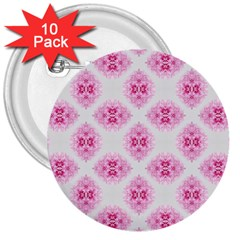 Peony Photo Repeat Floral Flower Rose Pink 3  Buttons (10 pack)