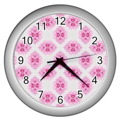 Peony Photo Repeat Floral Flower Rose Pink Wall Clocks (Silver)