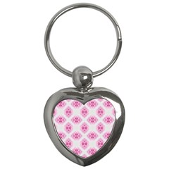 Peony Photo Repeat Floral Flower Rose Pink Key Chains (Heart)