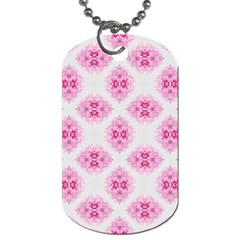Peony Photo Repeat Floral Flower Rose Pink Dog Tag (One Side)
