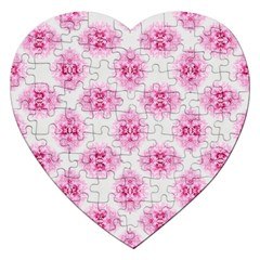 Peony Photo Repeat Floral Flower Rose Pink Jigsaw Puzzle (Heart)