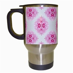 Peony Photo Repeat Floral Flower Rose Pink Travel Mugs (White)