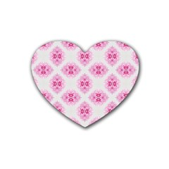 Peony Photo Repeat Floral Flower Rose Pink Rubber Coaster (Heart)