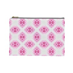 Peony Photo Repeat Floral Flower Rose Pink Cosmetic Bag (Large)