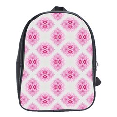 Peony Photo Repeat Floral Flower Rose Pink School Bags(Large)