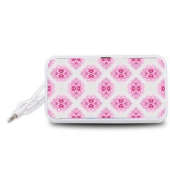 Peony Photo Repeat Floral Flower Rose Pink Portable Speaker (White)