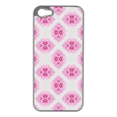 Peony Photo Repeat Floral Flower Rose Pink Apple iPhone 5 Case (Silver)