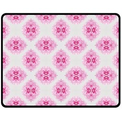 Peony Photo Repeat Floral Flower Rose Pink Double Sided Fleece Blanket (Medium)