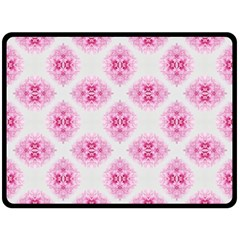 Peony Photo Repeat Floral Flower Rose Pink Double Sided Fleece Blanket (Large)