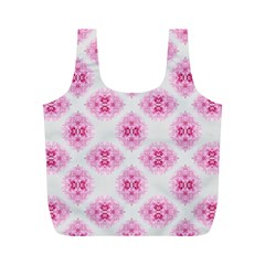 Peony Photo Repeat Floral Flower Rose Pink Full Print Recycle Bags (M)