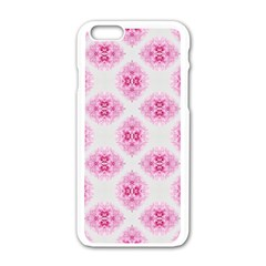 Peony Photo Repeat Floral Flower Rose Pink Apple iPhone 6/6S White Enamel Case