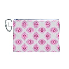 Peony Photo Repeat Floral Flower Rose Pink Canvas Cosmetic Bag (M)