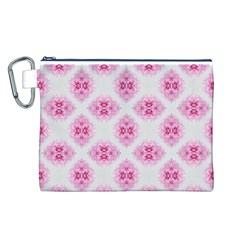 Peony Photo Repeat Floral Flower Rose Pink Canvas Cosmetic Bag (L)