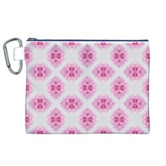 Peony Photo Repeat Floral Flower Rose Pink Canvas Cosmetic Bag (XL)
