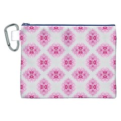 Peony Photo Repeat Floral Flower Rose Pink Canvas Cosmetic Bag (XXL)