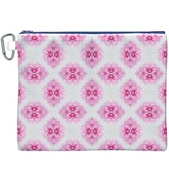Peony Photo Repeat Floral Flower Rose Pink Canvas Cosmetic Bag (XXXL)