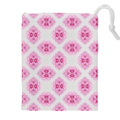 Peony Photo Repeat Floral Flower Rose Pink Drawstring Pouches (XXL)