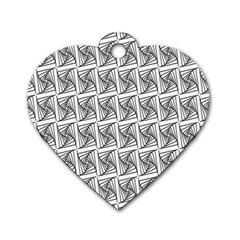 Plaid Black Dog Tag Heart (Two Sides)