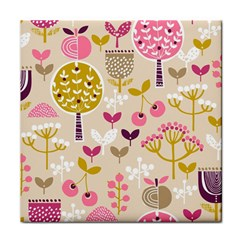 Retro Fruit Leaf Tree Orchard Tile Coasters
