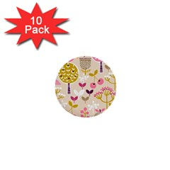 Retro Fruit Leaf Tree Orchard 1  Mini Buttons (10 pack)