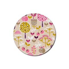 Retro Fruit Leaf Tree Orchard Rubber Round Coaster (4 pack)
