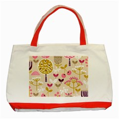 Retro Fruit Leaf Tree Orchard Classic Tote Bag (Red)