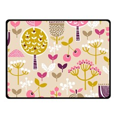 Retro Fruit Leaf Tree Orchard Double Sided Fleece Blanket (Small)