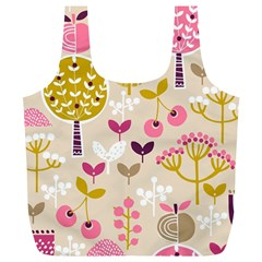 Retro Fruit Leaf Tree Orchard Full Print Recycle Bags (L)