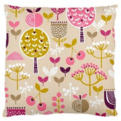 Retro Fruit Leaf Tree Orchard Large Flano Cushion Case (Two Sides)