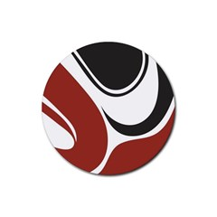 Red Black Rubber Round Coaster (4 pack)