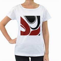 Red Black Women s Loose-Fit T-Shirt (White)