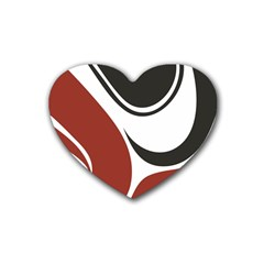 Red Black Rubber Coaster (Heart)