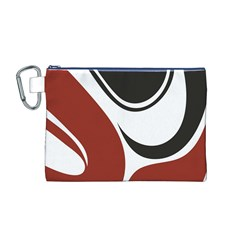 Red Black Canvas Cosmetic Bag (M)