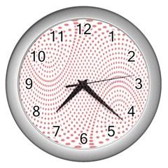 Red Circle Wall Clocks (Silver)