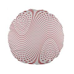 Red Circle Standard 15  Premium Flano Round Cushions
