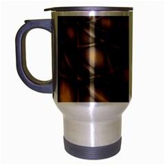 Rocks Metal Fractal Pattern Travel Mug (Silver Gray)