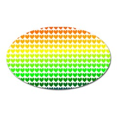 Rainbow Love Heart Valentine Orange Yellow Green Blue Oval Magnet