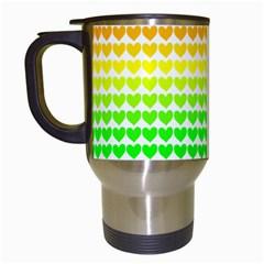 Rainbow Love Heart Valentine Orange Yellow Green Blue Travel Mugs (White)