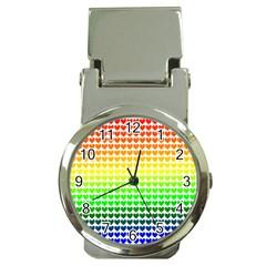 Rainbow Love Heart Valentine Orange Yellow Green Blue Money Clip Watches
